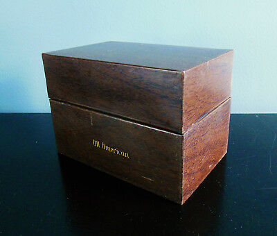 Antique Recipe Box, Wood Grain Metal All American with Dividing Cards, Recipes