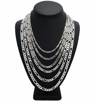 Mens Italian Figaro Link Chain Necklace 3mm to 8mm 14k White Gold Plated