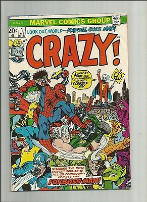 CRAZY  1 1973 FN CENTS X-Men Avengers  SHIELD parody  Marvel Comics  US Comics