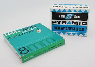 Vintage Pyramid 8mm/16mm Film Splicer and Super 8mm Cine Reel and Can - VGC