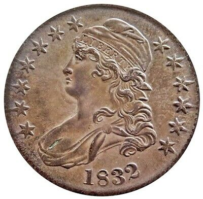 1832 Silver Us Capped Bust Half Dollar Coin About Uncirculated+ Condition