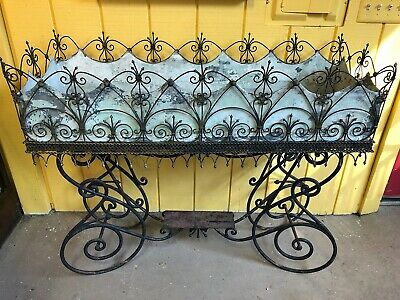 Antique French Wrought Iron & Wirework Jardiniere Planter