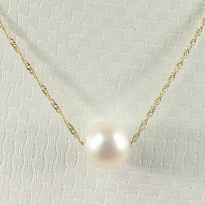White Cultured Pearl in 14k Solid Yellow Gold Singapore Style Chain Necklace TPJ