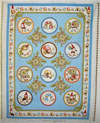 Cot Quilt Panel Better Gnomes & Gardens Blue For In The Beginning