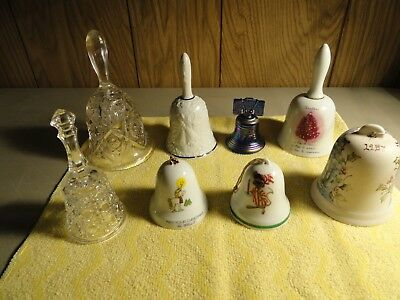 Vintage Glass-China 8 Pc.hand Bells , Lovely Lot , Some Have Markings