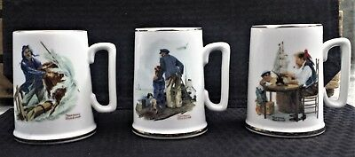 Vintage Collectible Norman Rockwell Set Of 3 Mugs W/sea Scenes 1985