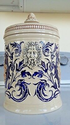 """ANTIQUE Porcelain 9"""" APOTHECARY JAR - HUMIDOR Bacchus TOBACCO Caddie Canister"""