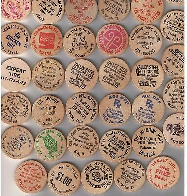 Lot of 40 diff TEXAS Wooden Nickels
