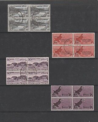 Pakistan. 4 Blocks of 4 each Used Stamps. See Photo.