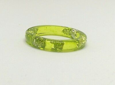 Resin Band Ring Lime Green and Silver Foil 5mm Band Ring Size 10 1/4 US U AU