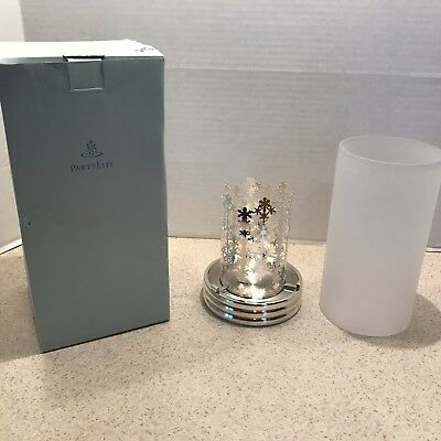 Partylite Snowflake Lantern P 7475 Silver Tealight Holder With Frosted Glass