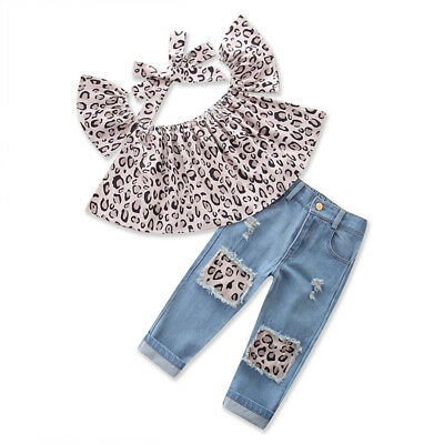 Baby Kids Girls Outfits Leopard Tops+Destroyed Denim Jeans Pants +headband 3PCS