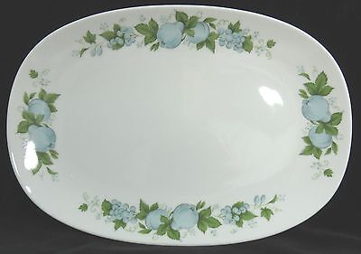 Noritake China Serving Platter BLUE ORCHARD White with Blue Fruit