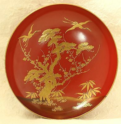 Japanese Old Lacquer Ware Sake Cup Plate Wood Pine Bamboo Plum Crane Gold Makie