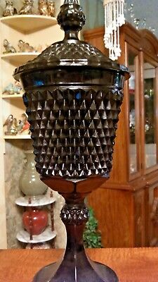 "BLACK ONYX Diamond Textured 16"" GLASS APOTHECARY JAR Chalice VASE - GOBLET URN"
