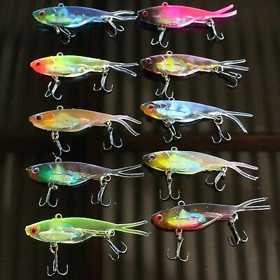 10 Soft Plastic Vibe Freshwater Fishing Lures 70mm  Bream  Bass Flathead Lure