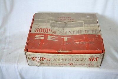 Federal glass Company Sandwich Set Boxed white glass