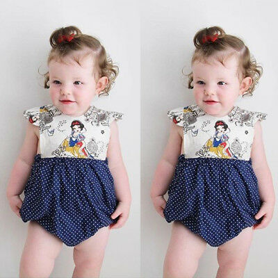 US Toddler Infant Kids Baby Girl Bodysuit Romper Jumpsuit Outfit Summer Clothes