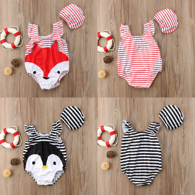 Baby Girl 3D Cartoon Fox & Penguin Swimsuit Bathing Suit Swimwear Beachwear 2-7T
