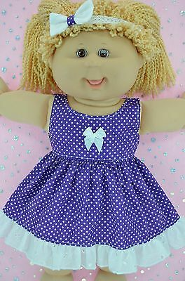 """Play n Wear Doll Clothes For 16"""" Cabbage Patch PURPLE POLKA DOT DRESS~HEADBAND"""
