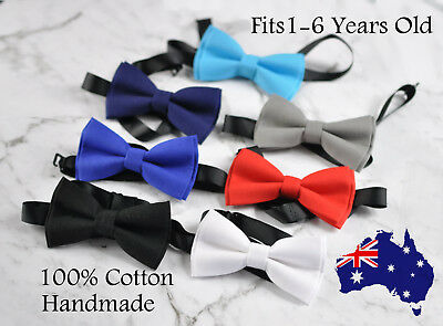 Baby Page Boy Kids infant Toddler Cotton Bowtie Bow Tie BLACK NAVY BLUE Grey