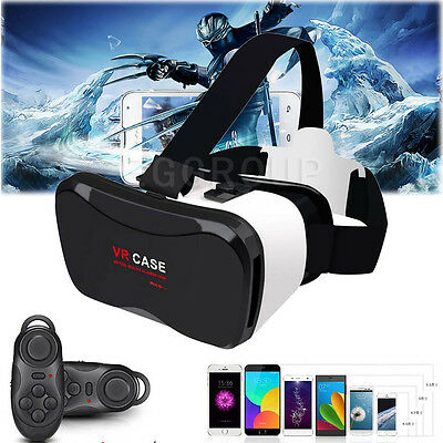 3D VR Headset Virtual Reality Glasses W/Remote Controller for Mobile Smart Phone