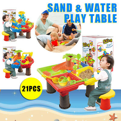 Kids Outdoor Sand and Water Table Toddler Play Set Toys Beach Sandpit Summer AU