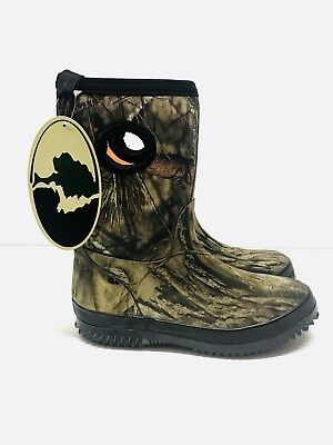 Kid's Mossy Oak Boots Size 3 Camouflage Fabric and Rubber Outsole