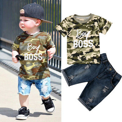 Toddler Kids Baby Boys Summer Camo Top T shirt + Denim Pants Outfit Set Clothes