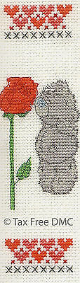VAT Free DMC Cross Stitch Kit Tatty Teddy Me to You Rose & Hearts Bookmark New