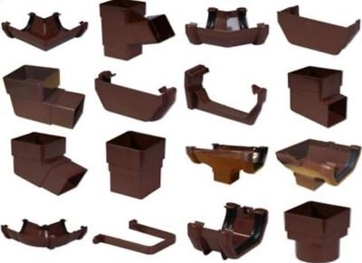 Brown Square Floplast 114mm Gutter and 65mm Pipe Fittings Selection of Fittings