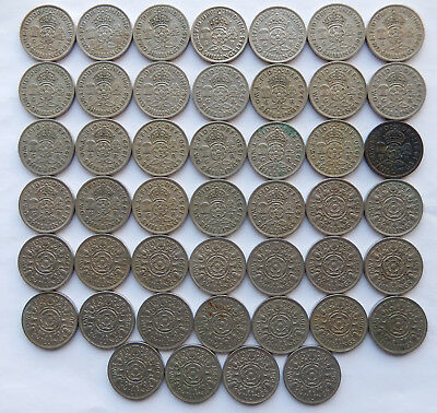 """1948 to 1967 UK / Great Britain Two Shilling Coin """"Lot of 46 Coins""""    SB5063"""