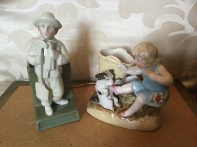 Antique Match Strikers/Holders,A Young Girl Training Her Dog & A Male Gardener