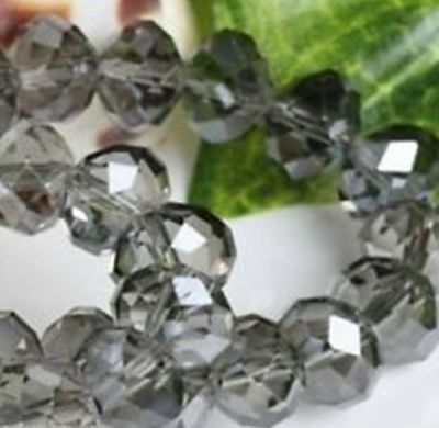 70pcs 6*8mm Gray Crystal Faceted Roundel Gems Loose Beads