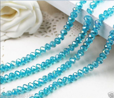 70pcs 6*8mm Lake blue AB Crystal Faceted Roundel Gems Loose Beads