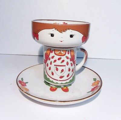 Interpur Stackable Girl Cup Mug Plate Bowl Set Strawberry Apron Flowers Stacking