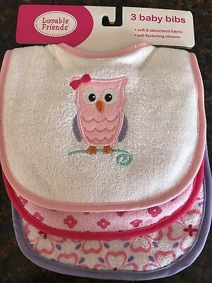 Luvable Friends Baby Girl Bibs 3pk Terry Cloth Owl Pink/purple
