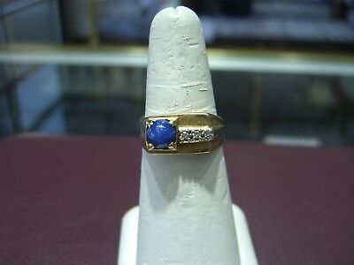 Vintage Fine Men's Star Sapphire & Diamond Yellow Gold Pinky Ring Size 9.5 Wow