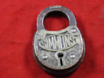 Vintage Antique Simmons Brass Lock Padlock - No Key