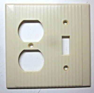 Vintage Leviton Ribbed Beige Bakelite 2Gang Combo Switch Outlet Wall Plate Cover