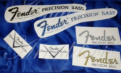 Fender Precision Bass Decal Decalcomania Serial Number Blue/Black/Gold /Grey