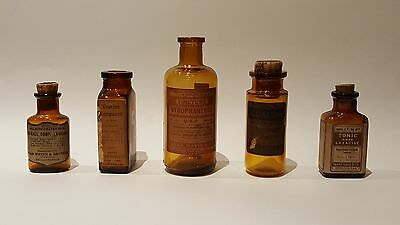 5 Medical Bottles (c1910):  Heart/ laxative/ infertility ovarian compound