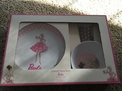 NEW Pottery Barn Kids 2009 Barbie Tabletop Plate Bowl u0026 Tumbler Set & BAYWATCH Barbie dinnerware set plate bowl tumbler NEW NIB - £18.10 ...