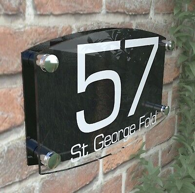 Modern House Number Plaques Acrylic Wall Door Sign Name Plate EMA4-8W-B