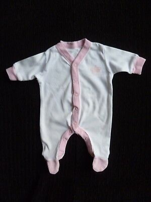 Baby clothes GIRL premature/tiny<7lbs/3.2kg Avenue Baby white/pink soft babygrow