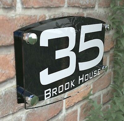 Modern House Number Plaques Acrylic Wall Door Sign Name Plate EMA4-10W-B