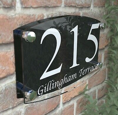 Modern House Number Plaques Acrylic Wall Door Sign Name Plate EMA4-13W-B
