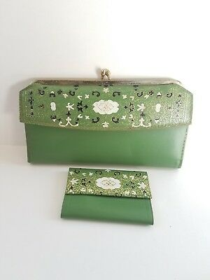 Womens Vintage Green and Gold Wallet Coin purse