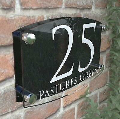 Modern House Number Plaques Acrylic Wall Door Sign Name Plate EMA4-28W-B