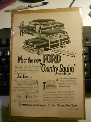 *USED* 1950 Ford Country Squire, Ford Woody Wagon, Original B&W Advertisement
